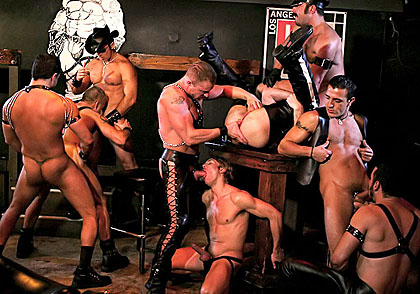 HD gay Mature leather orgy