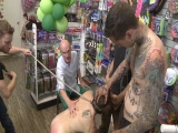 Bound In Public: Greedy Whore Gang Banged By Horny Dudes At A Local Balloon Shop